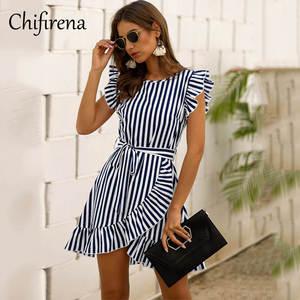 Chifirena Dress-Belt Vestido Boho Party Elegant Ruffles Mini Striped Sexy Summer Short-Sleeve