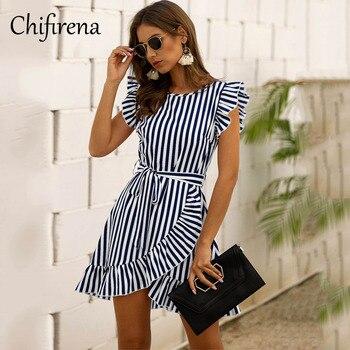 Chifirena Short-Sleeve Sexy Summer Women Dress Belt Ruffles Hem Vestido O Neck Beach Boho Striped Elegant Party Mini Red Dress curved hem striped tee dress