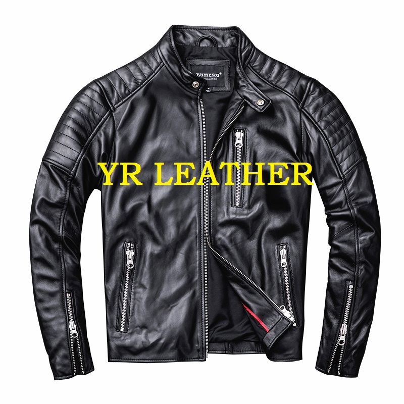 Free Shipping.Wholesales.2019 Brand New Motor Biker Style Sheepskin Jacket,mans Fashion Slim Genuine Leather Coat.sales