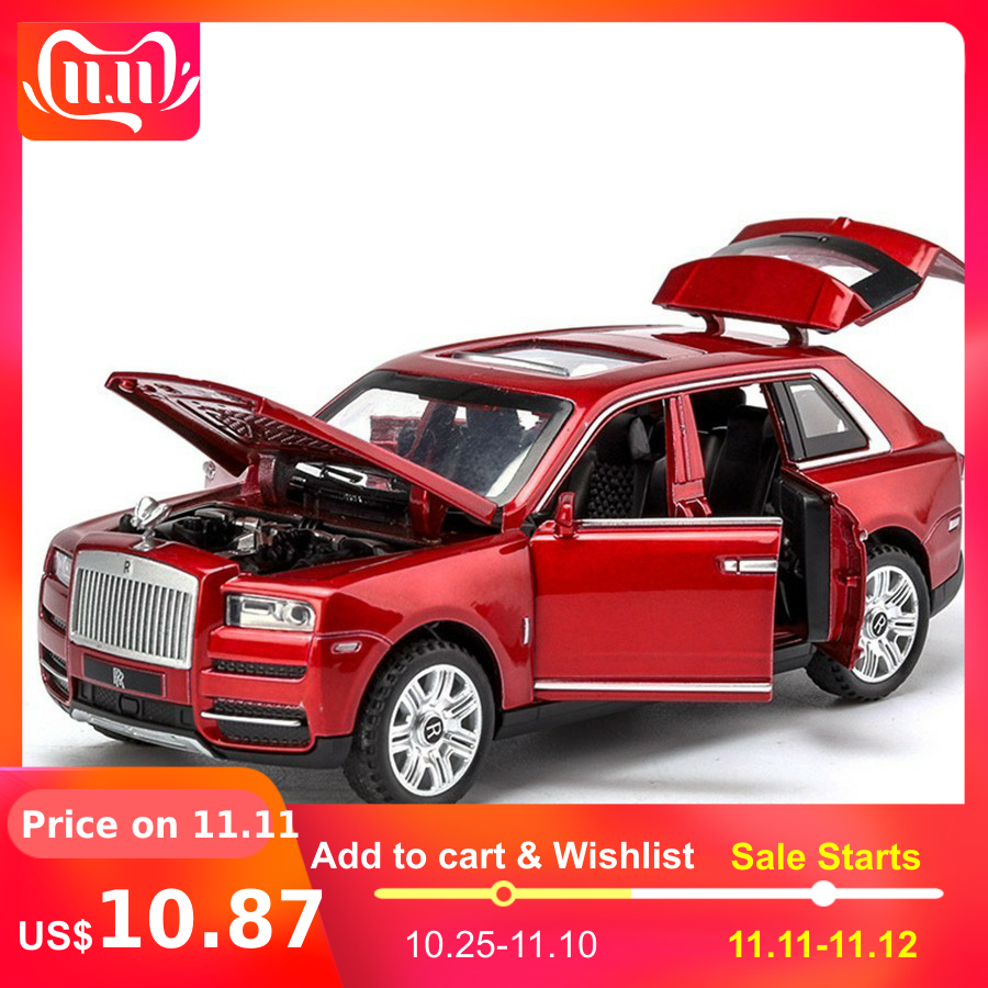 Diecast 1:32 Scale Rolls Royce Cullinan Models Of Cars Metal Model Sound And Light Pull Back SUV For Kids 7 Doors Can Be Opened