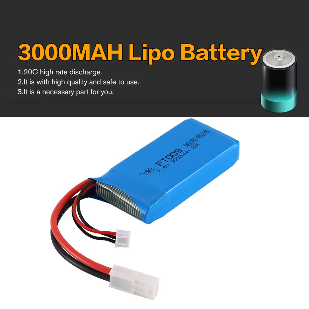 <font><b>3000MAH</b></font> 7.4V 20C <font><b>2S</b></font> 2P Plug RC Boat <font><b>Lipo</b></font>-Battery Rechargerable Battery For FT009 High Speed Remote Control Boat image
