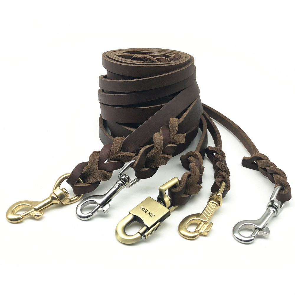 Cowhide Dog Large Lanyard Wrangler Traction Dog Golden Retriever De Medium-sized Dog Genuine Leather Dog Unscalable Dog Pyla