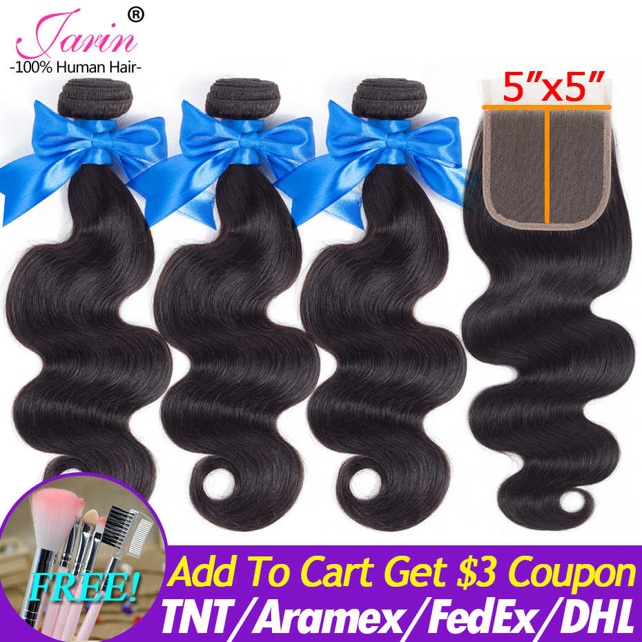 Peruvian Body Wave Hair Weave With Closure 5x5 inch Human Hair Extension 3 Bundles With Lace Closure 100% Remy JARIN 10-30 Inch