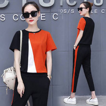 Summer sportswear suit female two-piece suit 2020 new fashion western style Korean loose casual was thin nine-point pants suit