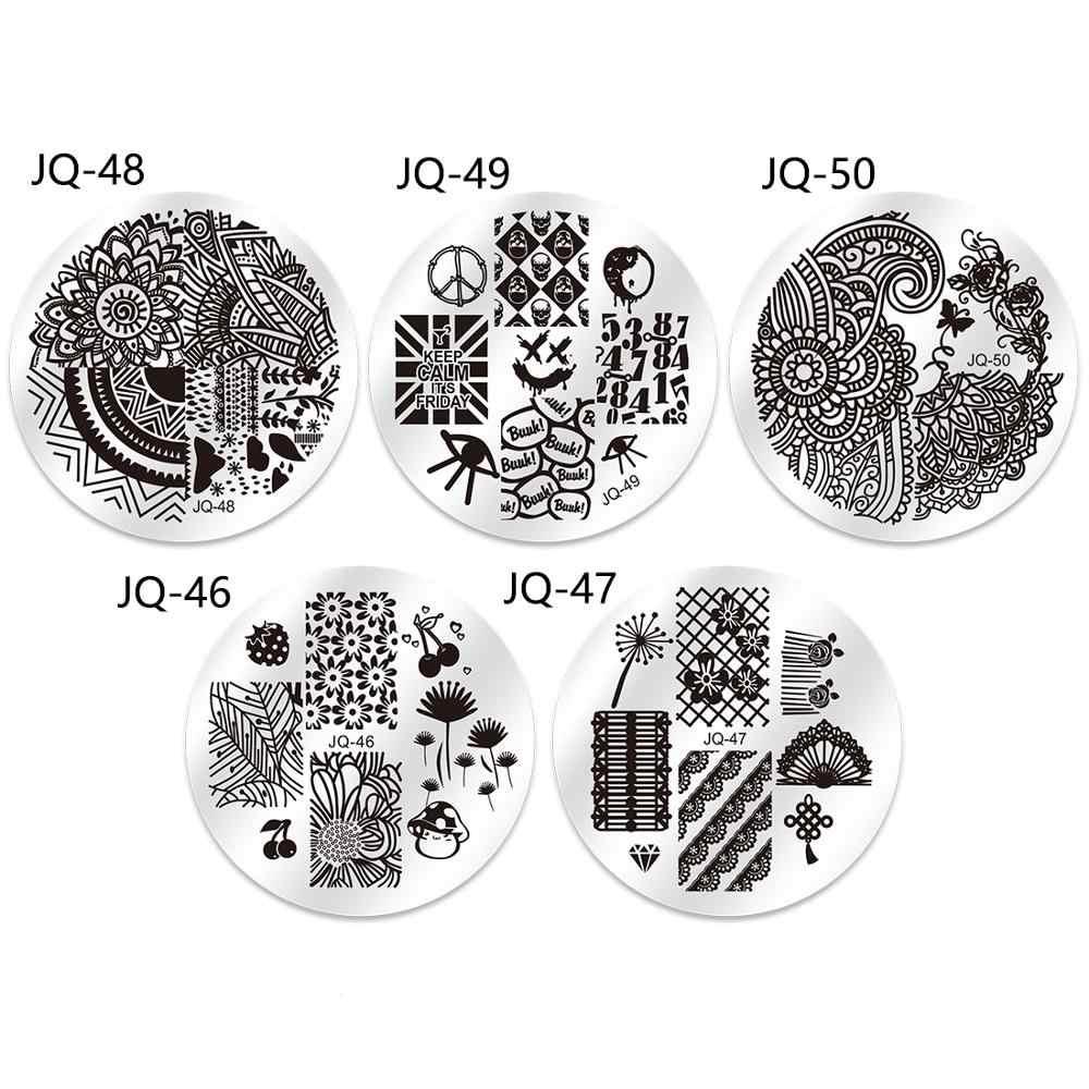 Biutee 10 เล็บแผ่น 1 Stamper 1 Scraper Nail Art ภาพปั๊มแสตมป์แผ่นแม่แบบเล็บเครื่องมือเล็บแม่แบบ