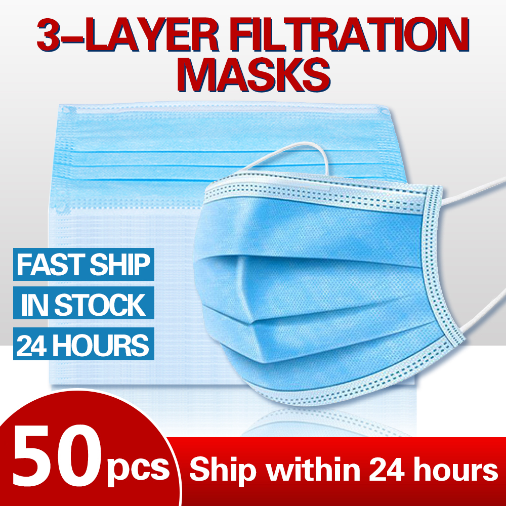 100/50Pcs 3-Ply N95 Disposable PM2.5 Mask Anti-dust Safe Breathable Masks Earloops Anti Fog And Haze Face Mouth Masks Respirator