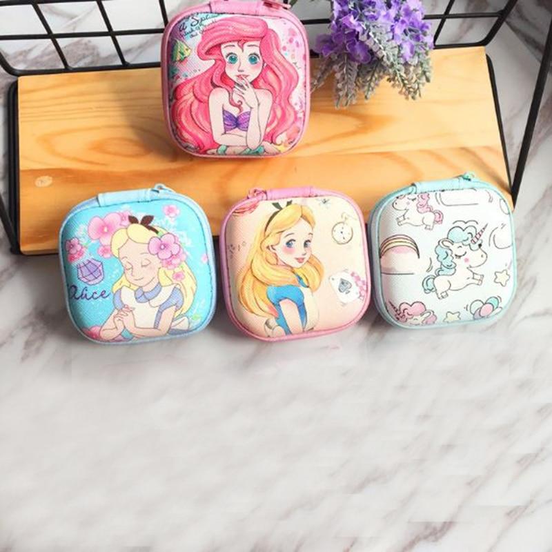 1 Pc Kawaii Alice In Wonderland Unicorn Mermaid Figures Toys Cartoon Square Coin Bag Headphone Storage Bag Gifts