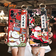Lucky Cat Wrist Strap TPU Mobile Phone Case For Samsung A72 A80 A90 Protective Cover For Note10 10pro 8 9 10  S20 Silicone Cases