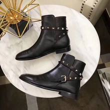 women winter shoes ankle zipper short botines mujer 2019 back rivets leather chelsea boots woman brand low heels lady(China)