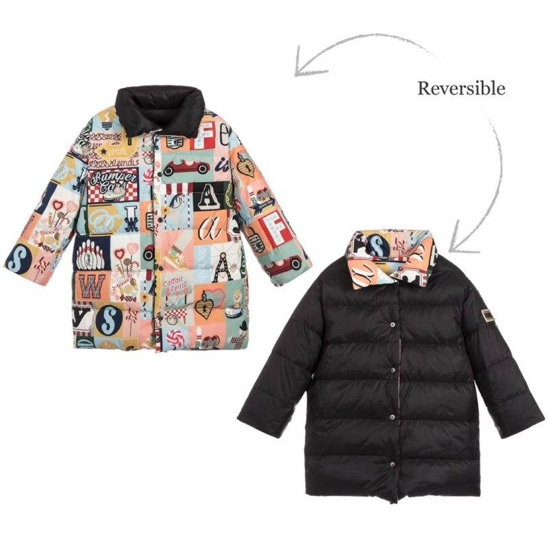 2019 Winter Down Jacket Snow Wear Black Thermal Reversible Jacket Coat For Kids Gooese Down Jacket Snow Outwear Baby Kids on AliExpress