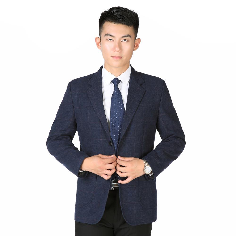 Hommes Smart blazers occasionnels noir gris bleu foncé Plaid modèle veste costumes hommes affaires bureau tenues automne printemps vêtement