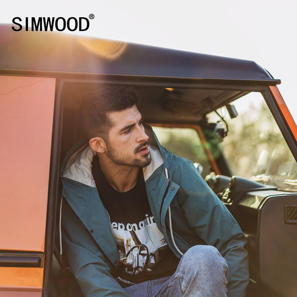 SIMWOOD 2020 Spring Shell Hooded Field Jacket Men Casual Cargo Solid Color Windbreaker Plus Size Lover's Clothes SJ170225