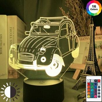 Carro do vintage 2cv 3d ilusão led night light para decoração de casa criança quarto adulto escritório decoração luz legal clássico carro 3d lâmpada