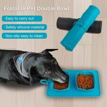 2Pcs Magic Foldable Pet Dog Cat Drinking Water Food Double Bowls Portable Travel Outdoor Soft Silicone Mat Feeding Carpet