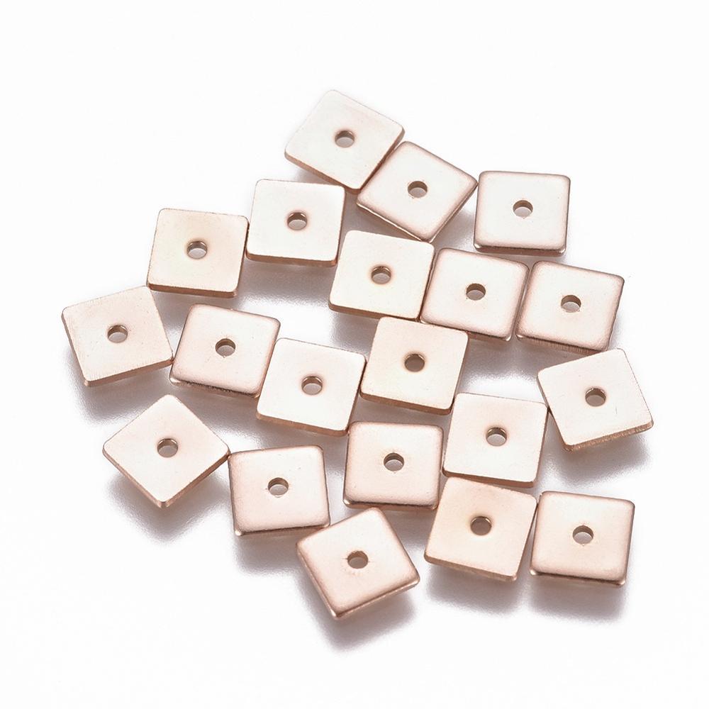 Плоские круглые/Квадратные бусины из нержавеющей стали 304 20