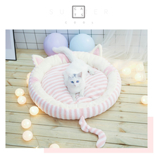 Cute Ear Pet Dog Bed Mats Round Puppy Pads Winter Warm Velvet Soft Lounger Sofa for Kitten Small Blanket Cushion Supplies