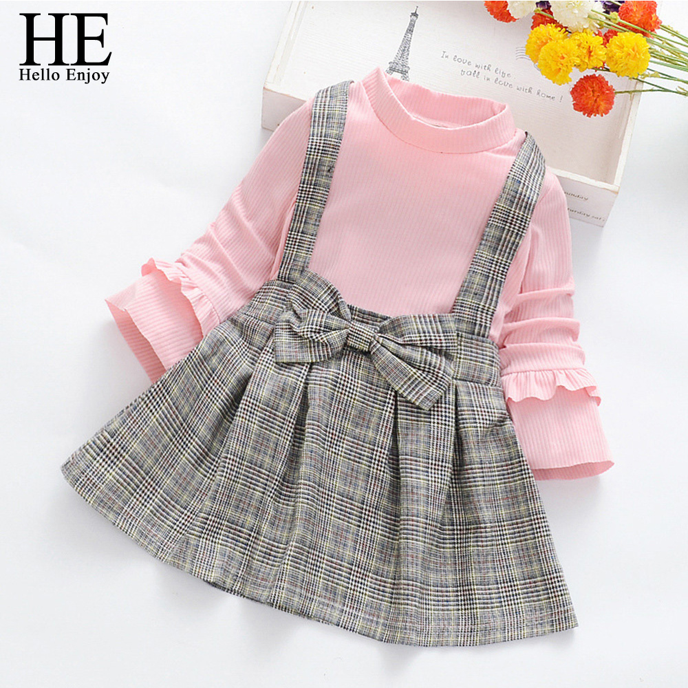 HE Hello Enjoy Kid <font><b>Girl</b></font> Baby Clothes <font><b>Dress</b></font> Knitting Long Sleeve <font><b>T</b></font> <font><b>shirt</b></font> Tops Lattice Princess <font><b>Dress</b></font> Soft Autumn <font><b>Girl</b></font> Costumes image