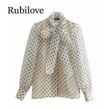 Rubilove women sweet polka dots printing casual organza blouses shirt long sleeve bow tied smock chemise