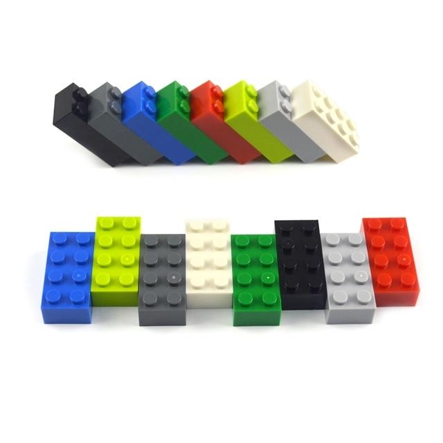 50pcs 2x4 Dot Thick bricks multiple color Educational Creative DIY Bulk Set Building Blocks Compatible All Brands classic parts