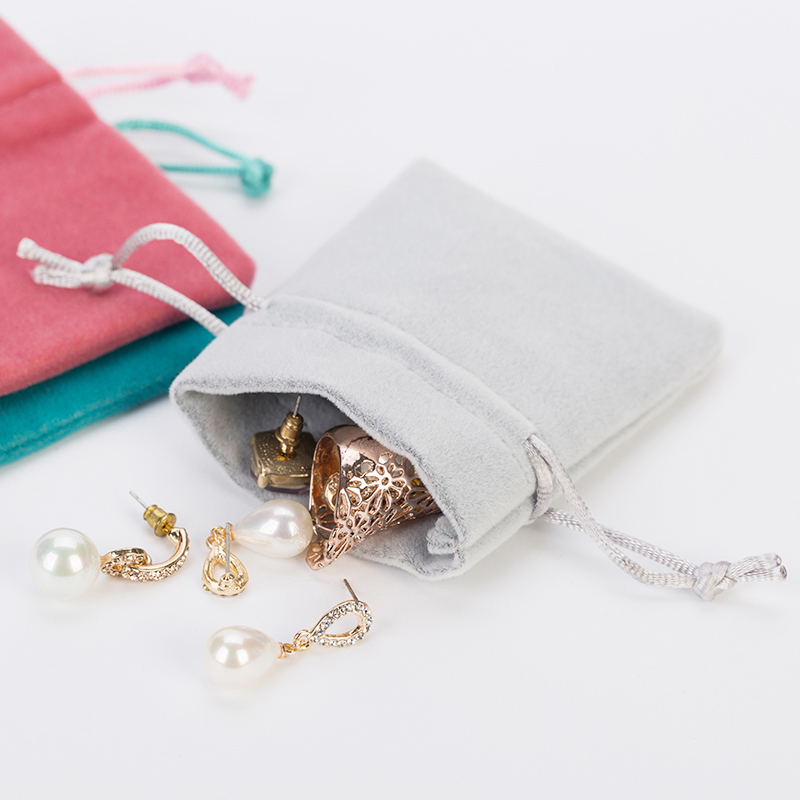 High Quality Velvet Jewelry Pouches For Wedding Jewelry 7x9cm 9x12cm Thick Grey Drawstring Bag Wedding Favor Bags 100pcs/lot