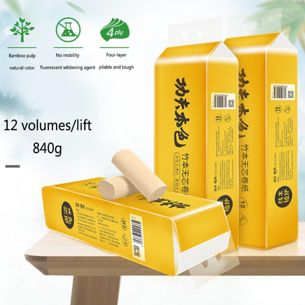 Plant Protection Natural Coreless Roll Paper 12 Rolls / Lifting Toilet Paper 4 Layers Household NEW