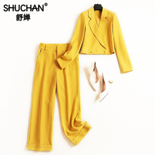 Shuchan 2 Piece Sets Womens Outfits Cropped Jacket+wide Leg Pants High Street Korean Style Women Set Clothes for
