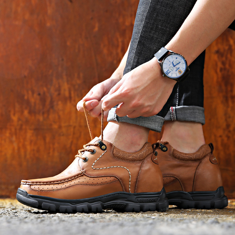 Image 3 - Leather Casual Shoes with Elevated Levels in 2019 Spring and Autumn Genuine Leather  mens style shoes-in Men's Casual Shoes from Shoes