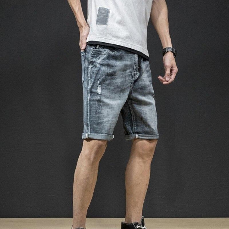 2020 Summer New Men Jeans Shorts Korean Knee Length Fashion Ripped Straight Denim Shorts Streetwear High Quality Brand Clothes