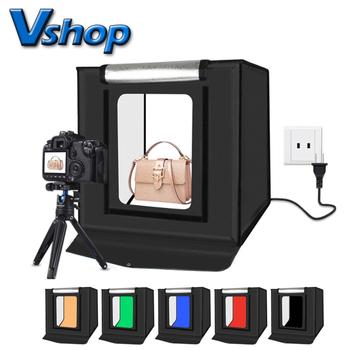 PULUZ 40*40cm 16inc Mini namiot do zdjęć Lightbox Photograghy Softbox Led Photo Lighting Studio strzelanie pudełko w kształcie namiotu zestaw podświetlana tablica tanie i dobre opinie CN (pochodzenie) 40cm x 40cm x 40cm 552g (only Tent) Nylon Cloth PU5040 5500K 2 x 1200LM