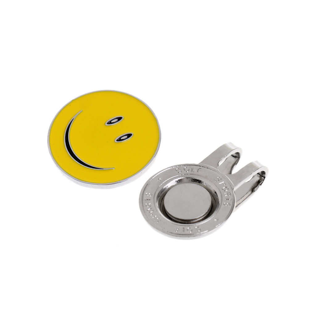 2 Pieces Magnetic Golf Ball Marker With Standard Hat Clip - Funny Yellow Smile Face Design