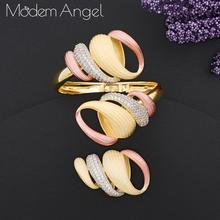 ModemAngel Luxury Exaggeration Line 3Tone Nigeria Bangle Ring Jewelry Sets For Women Wedding Zircon Crystal CZ Indian Bridal Jew