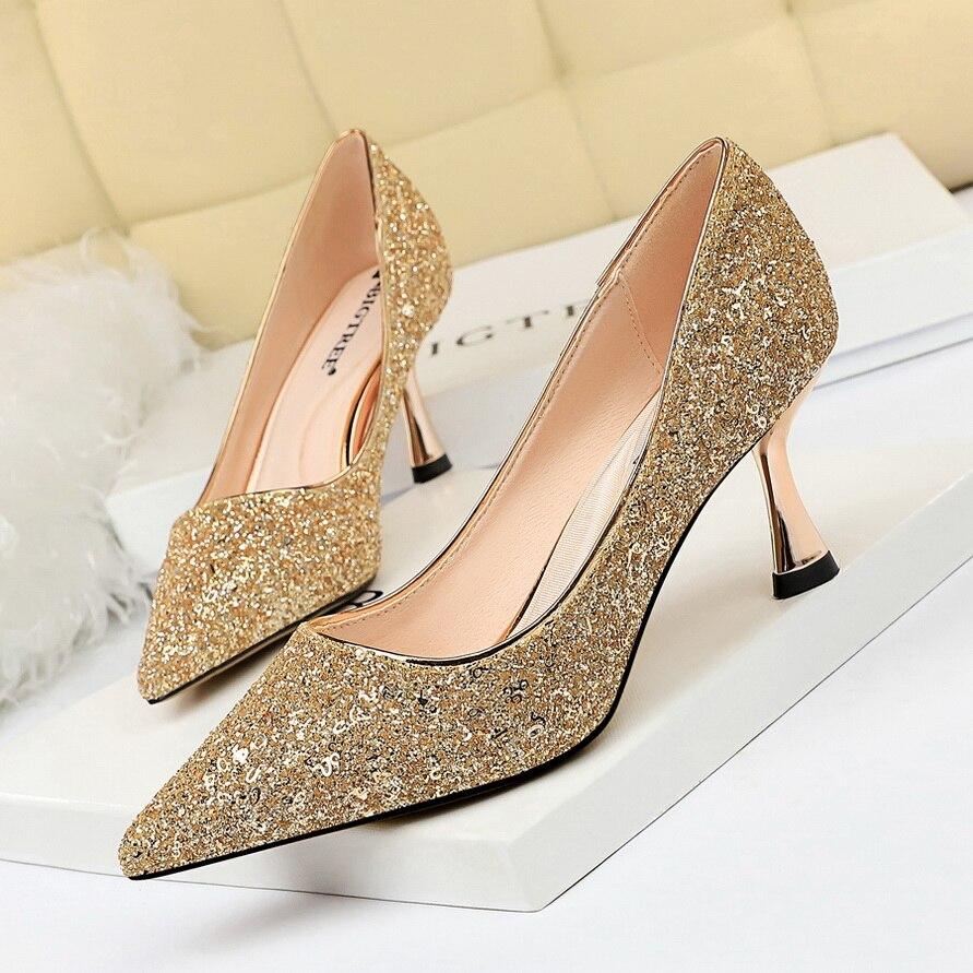 BIGTREE Bling High Heels Dance Club Shoes Women Sexy Glitter Pump Paillette Stiletto 2019 New Luxury Party Shoe Wedding Pumps