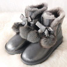 G&Zaco Luxury Sheepskin Boots Brand 2019 New Waterproof Fur Snow Boots Fox Ball Fur Non-Slip Rubber Sole Women Winter Shoes