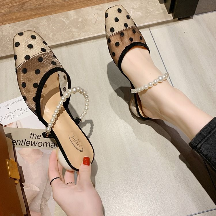 Exing Womens Shoes Summer Fashion Comfort Sandals Chunky Heel Outer Wear with Baotou Sandals
