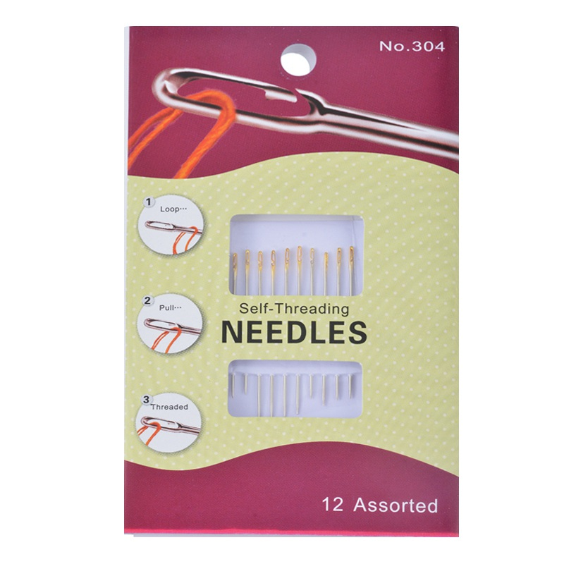 12PCs Hand Sewing Needles Pins Set Self-Threading Embroidery Domestic Assorted Needles For Needlework Repair Stitch DIY