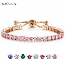 Fashion CZ Crystal Tennis Bracelet Luxury 4mm Shiny Cubic Zirconia Round Bangle For Women Men Silver Golden Hiphop Jewelry Gift