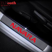 Soleira da porta do carro placa scuff para nissan navara 4d adesivo de fibra carbono pedal bem-vindo limiar acessórios automóveis 4pcs