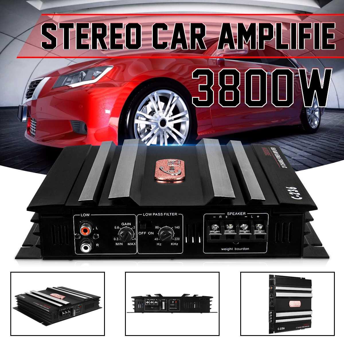 3800W 2 Channel Powerful subwoofer Car Audio Amplifier Bass AMP Aluminum 12V DC car amplifier amplifiers car subwoofer car