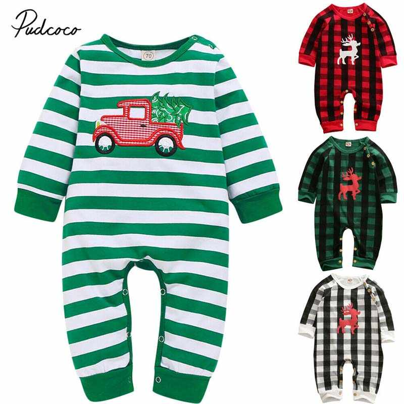 2020 Baby Spring Autumn Clothing Christmas Newborn Baby Boy Girl Cotton Romper Long Sleeve Jumpsuit Santa Tree Clothes Outfit