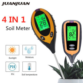Digital 4 In 1 Soil PH Meter Temperature Solar Moisture tester for Garden Plants Flowers LCD Display 40%off - discount item  40% OFF Measurement & Analysis Instruments