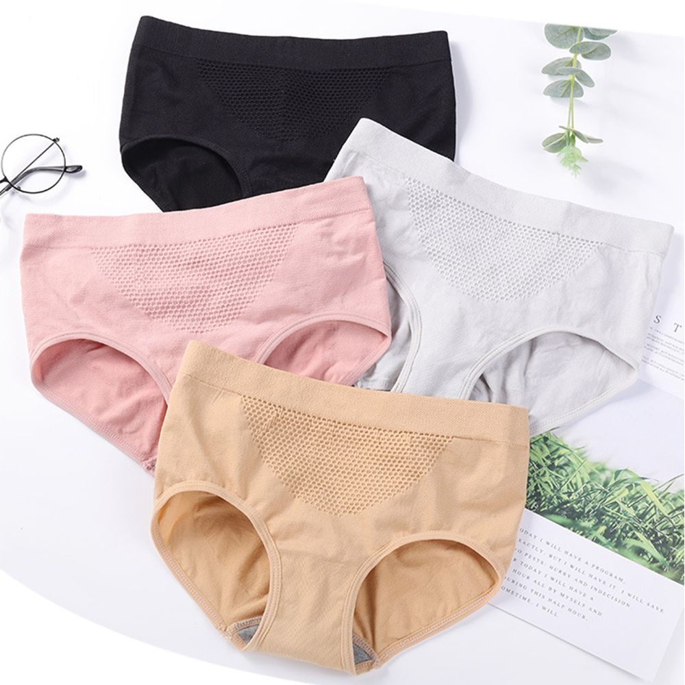 Ladies 3D Honeycomb Panties Warm Belly Uterus Abdomen Super Elastic Women's Mid-rise Waist Breathable Cotton Panties