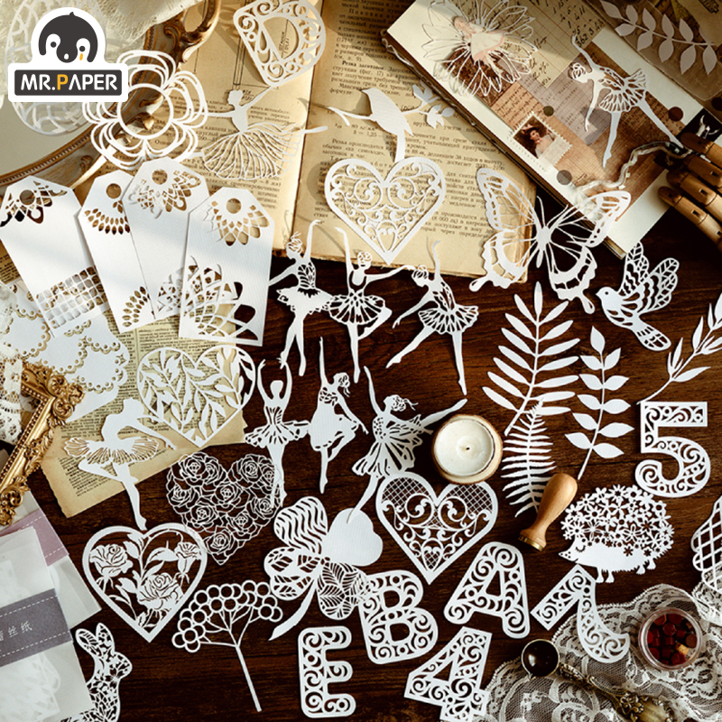 Mr.paper 8 Designs 10Pcs Iskabe Garden Series Ballet Loose Leaf Bullet Journal Art Paper White Lace Decoration Paper Memo Pads