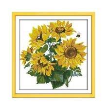 Блестящий Подсолнух Набор для вышивки крестом цветок 18ct 14ct 11ct граф Печатный холст для вышивки своими руками рукоделие