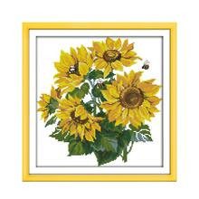 Cross-Stitch-Kit Flower Embroidery Diy Count-Printed 18ct Canvas Handmade Needlework
