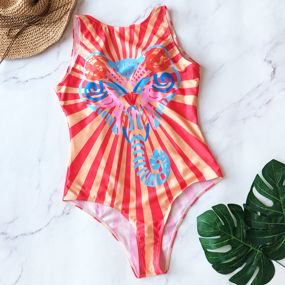 H64a76f4cdc8542b0a1058e3c12eaea27t - Striped Women One Piece Swimsuit High Quality Swimwear Printed Push Up Monokini Summer Bathing Suit Tropical Bodysuit Female