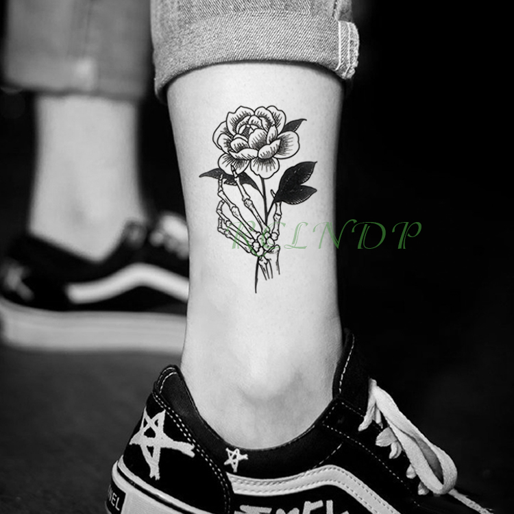 Waterproof Temporary Tattoo Sticker Rose Flower Paw Fake Tatto Flash Tatoo Tatouage Wrist Foot Hand Arm For Girl Women Men