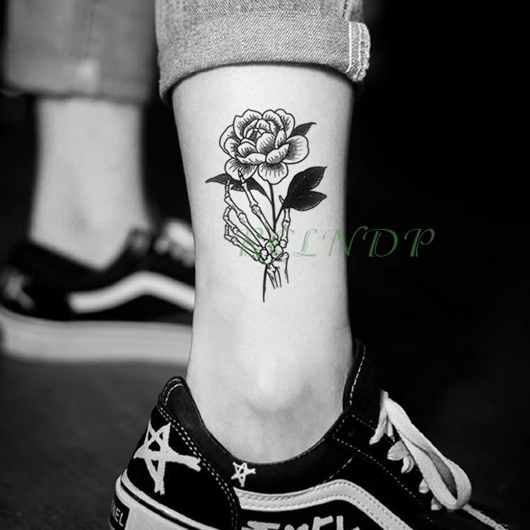 Waterproof Temporary Tattoo Sticker Rose Flower Paw Fake Tatto Flash Tatoo Tatouage Wrist Foot Hand Arm For Girl Women Men