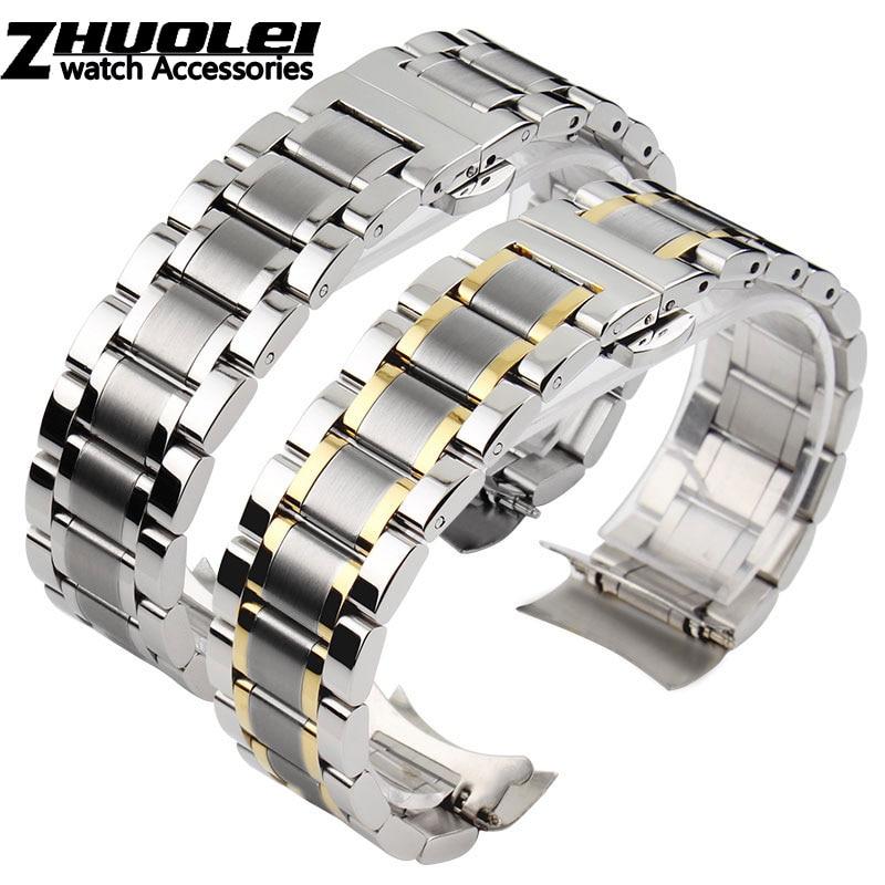 Изогнутый конец браслет из нержавеющей стали ремешок для часов 16 мм 17 мм 18 мм 19 мм 20 мм 21 мм 22 мм 23 мм 24 мм стальной браслет