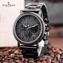 Watch Men BOBO BIRD Top Fashion Wooden Military Wristwatch Auto Date Luminous Hands Timepiece Cool Gift Relogio Masculin B-P09