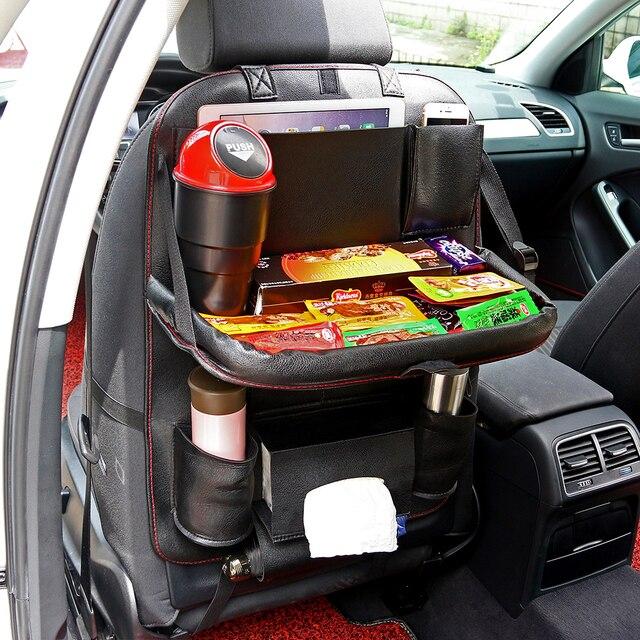 Onever مقعد السيارة الخلفي سلة غسيل معلقة حقيبة العالمي السيارات متعددة جيب بولي Pad الجلود وسادة الكؤوس تخزين حامل حقيبة طوي الرف